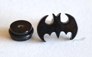 361L Stainless Steel Black Batman Bat Men Women Screw On Earring Unique Unisex