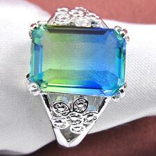 Fashion New Jewelry Yellow To Blue Bi Color Tourmaline Gems Silver Rings Sz 7-9