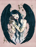 Gothic Fantasy Art PRINT Angel Wither Wilted Decay Wings Flowers Pink Mauve