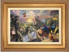 Thomas Kinkade Disney Beauty and the Beast 12x18  LE Canvas S/N #876 Gold Frame
