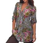 GB Mujer Vintage Estampado Floral Cuello en V Blusa Túnica Camiseta moderno