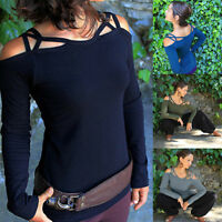 Off Shoulder Women Sexy Long Sleeve Shirt Lace Up Blouse Loose Cotton Top Shirt