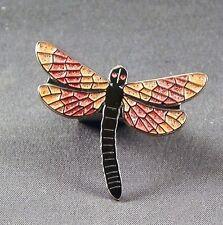 METALLO SMALTO SPILLA BADGE LIBELLULA Dragon Fly ARTIFICIALE INSETTO Arancione