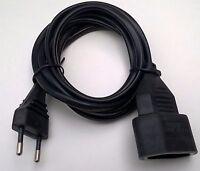 2m schwarz Euro Verlängerung Stromkabel Stecker Verlängerungs-Kabel Kupplung 2,0