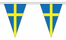 More details for sweden 20 metre triangle bunting 30 flags flag triangular 54 flags swedish
