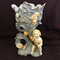 "Mid 50's Ucagco Ceramic Japan Blue Vase with Cherub ~ 6 1/2"" Tall"