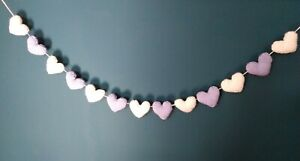 Knitted Lilac & white Heart Bunting for nursery / wedding. Handmade 1.3m