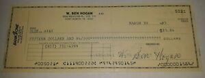 Ben Hogan Signed Check PSA DNA COA PGA Golfer Autographed Bank Check