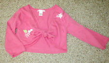 Janie & Jack Pink Floral Sweater Bolero Cardigan tie front ballet dance 3T Knit
