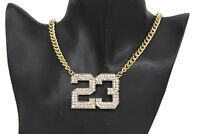 Women Fashion Gold Metal Chains Short Necklace Number # 23 Charm Pendant Jordan