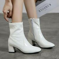 Women's Square Toe Ankle Boots Patent Leather Chunky Heels Casual Side Zip Shoes