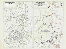WW2 Operations of Soviet-Finnish Winter War Strategy Vintage Maps 1939-1940