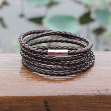 Faux Leather Braided Rope Bracelet Wristband Mens Dark Brown Bangle Cuff Gift