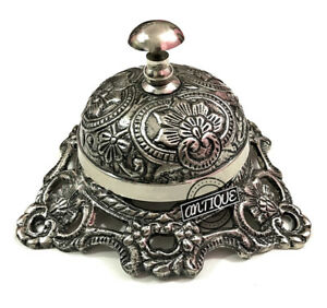 Silver Desk Bell Ringer - Manual Service Table FatherDay Bells- Office/Hotel