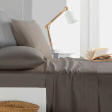 800TC Egyptian Cotton 1pc  FITTED SHEET Sateen Solid Taupe