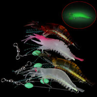 5pcs Soft shrimp bait luminous silicone prawn fishing lures hook bait 5 coloJH