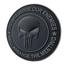 GOD WILL JUDGE OUR ENEMIES punisher PVC ACU subdued dark badge tag hook patch