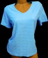 Basic editions blue textured short sleeve v-neckline women's plus size top XL
