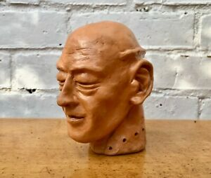 Vintage Sculpture Man's Bust Head from Clay