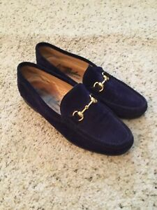 CALZATURE RIGOLI ITALY PURPLE SUEDE GOLD HORSEBIT LOAFERS SHOES *FREE SHIPPING*