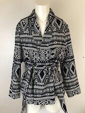 H&M Conscious Collection Size UK 10 Jacket Monochrome Jacquard Weave Cotton
