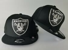 New Era Oakland Raiders Black oversize Logo 9Fifty Strapback Hat