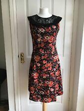 Joe Browns Rockabilly Peter Pan Collar Shirt Dress Lined BlackOrange Floral 8 10