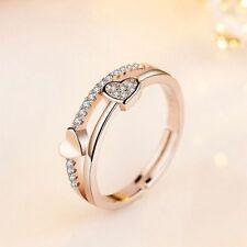 Joyas de boda Cristal ajustable Anillos de plata Forma de corazón