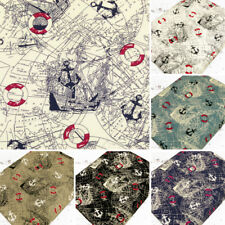 Cotton Fabric by FQ Nautical Sea Marine Boat Anchor Buoy World Map Quilting VK32
