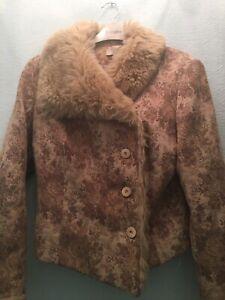 Unusual Vintage Look Wallis Winter Jacket Fur Collar Size 12 Petite