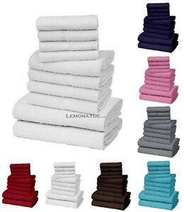 100% EGYPTIAN COTTON FACE HAND BATH TOWEL SOFT THICK 10 PIECE BALE SET WHITE