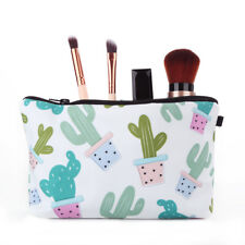 EG_ Women Green Plants Cactus Bag Makeup Bag Purse Cosmetic Storage Organizer He