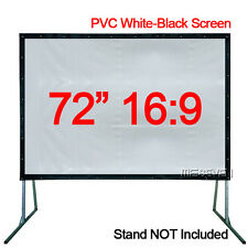 "72""16:9 Home Projector PVC Soft White-Black Front Movie Projection Screen Fabric"
