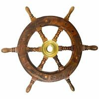 Nautical Decor Sheesham Wood Decorative Ship Wheel with Brass Center 12""