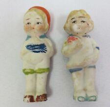 Old Frozen Charlotte Penny Doll Dutch Boy Girl Bisque Japan