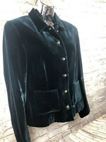 Worth womens 8 petite silk blend forest green velvet blazer jacket career