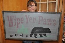 New Wood Sign WIPE YER PAWS 31 inches x 16 inches Reminder to wipe their feet