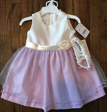 Baby Girls Bonnie Baby Purple And White Dress Size 18 Months New With Tags