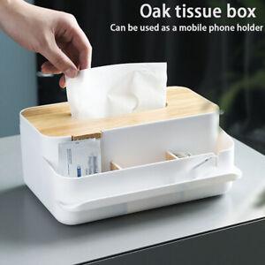 Multifunctional Tissue Box Desktop Container Storage Holder Wooden Cover Kitchen