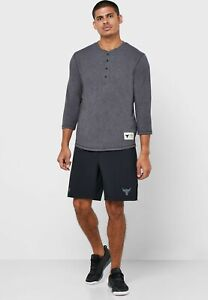 new UNDER ARMOUR men's PROJECT ROCK 3/4 Sleeve Shirt sz XL bull tee dark gray