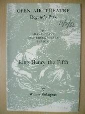 Open Air Theatre,Shakespeare Quatercentenary Season 1964- KING HENRY THE FIFTH