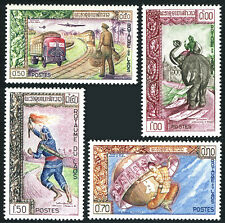 Laos 77-80, MNH. Modern & Ancient mail service. Truck,Train,Plane, Elephant,1962