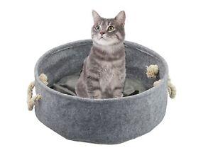 Hunde-und Katzenkörbchen Ø 60 cm grau inkl. Kissen Tierbett mit Henkel Hundebett