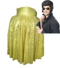 The King of Rock n Roll Gold Sequin Cape Wig & Glasses Fancy Dress Set UK
