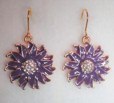 Purple flower enamel effect drop earrings in gold tone 4cm
