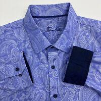 Tasso Elba Button Up Shirt Mens XL Blue Floral Long Sleeve Casual