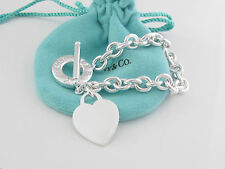 Authentic Tiffany & Co Silver Toggle Heart Bracelet Packaging Box Pouch
