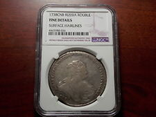 1738 Russia Anna Rouble silver coin NGC F Details