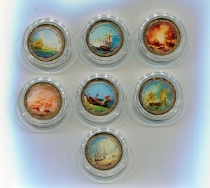 Napoleonic Naval Battles 7 pieces Beautiful Colorized coins in Presentation Box