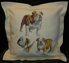 Hand crafted Tan English  Bulldogs cushion cover